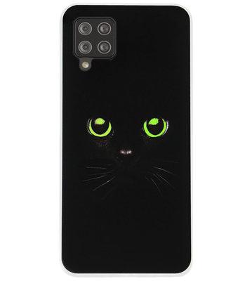 ADEL Siliconen Back Cover Softcase Hoesje voor Samsung Galaxy A12/ M12 - Katten Zwart Groene Ogen