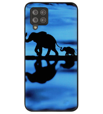ADEL Siliconen Back Cover Softcase Hoesje voor Samsung Galaxy A12/ M12 - Olifant Familie