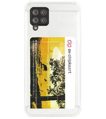 ADEL Siliconen Back Cover Softcase Hoesje voor Samsung Galaxy A12/ M12 - Pasjeshouder Doorzichtig
