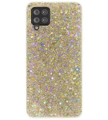 ADEL Premium Siliconen Back Cover Softcase Hoesje voor Samsung Galaxy A12/ M12 - Bling Bling Glitter Goud