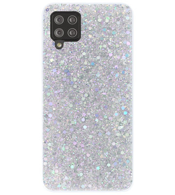 ADEL Premium Siliconen Back Cover Softcase Hoesje voor Samsung Galaxy A12/ M12 - Bling Bling Glitter Zilver