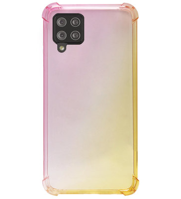 ADEL Siliconen Back Cover Softcase Hoesje voor Samsung Galaxy A12/ M12 - Kleurovergang Roze Geel