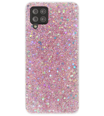 ADEL Premium Siliconen Back Cover Softcase Hoesje voor Samsung Galaxy A12/ M12 - Bling Bling Roze