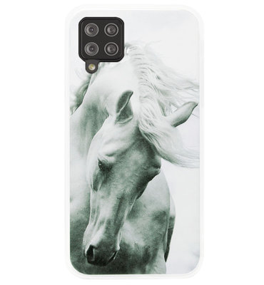 ADEL Siliconen Back Cover Softcase Hoesje voor Samsung Galaxy A12/ M12 - Paarden Wit