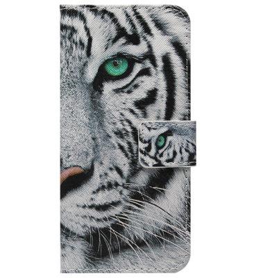 ADEL Kunstleren Book Case Pasjes Portemonnee Hoesje voor Samsung Galaxy A12/ M12 - Tijger
