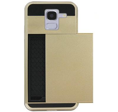 ADEL Kunststof Back Cover Hardcase Hoesje voor Samsung Galaxy J6 Plus (2018) - Pasjeshouder Goud