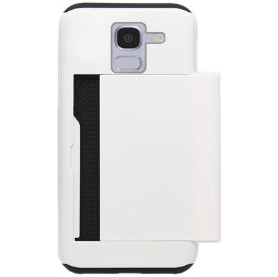 ADEL Kunststof Back Cover Hardcase Hoesje voor Samsung Galaxy J6 Plus (2018) - Pasjeshouder Wit