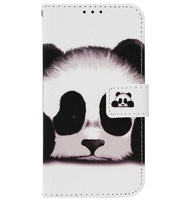 ADEL Kunstleren Book Case Pasjes Portemonnee Hoesje voor Samsung Galaxy J6 Plus (2018) - Panda