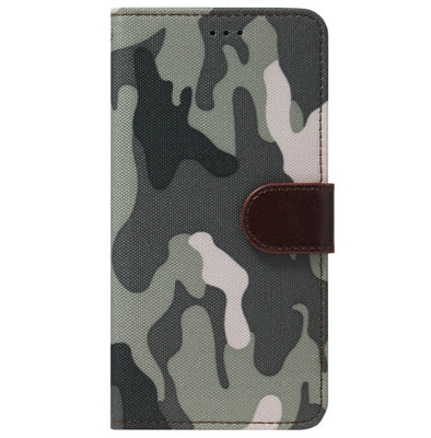 ADEL Kunstleren Book Case Pasjes Portemonnee Hoesje voor Samsung Galaxy J6 Plus (2018) - Camouflage Grijs