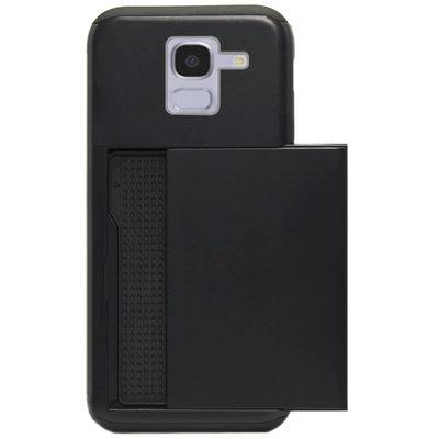 ADEL Kunststof Back Cover Hardcase Hoesje voor Samsung Galaxy J6 Plus (2018) - Pasjeshouder Zwart