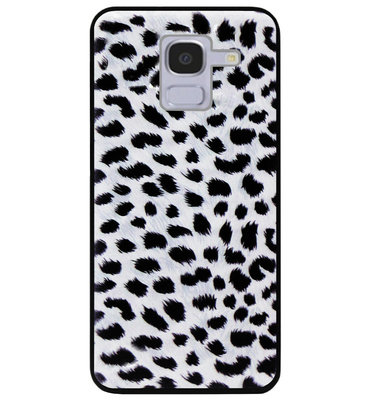 ADEL Siliconen Back Cover Softcase Hoesje voor Samsung Galaxy J6 Plus (2018) - Luipaard Wit