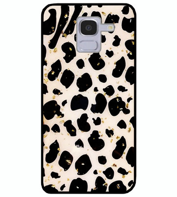 ADEL Siliconen Back Cover Softcase Hoesje voor Samsung Galaxy J6 Plus (2018) - Luipaard Bling Glitter