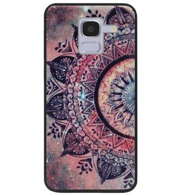 ADEL Siliconen Back Cover Softcase Hoesje voor Samsung Galaxy J6 Plus (2018) - Mandala Bloemen Rood