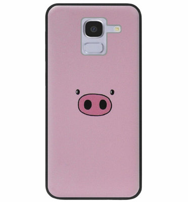 ADEL Siliconen Back Cover Softcase Hoesje voor Samsung Galaxy J6 Plus (2018) - Biggetje