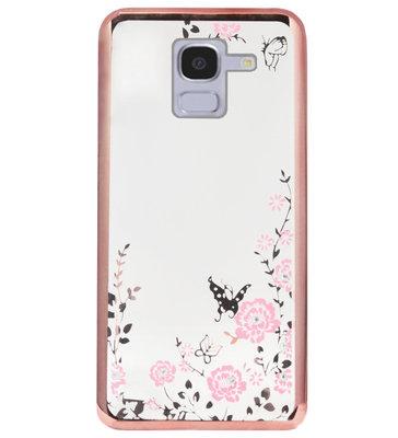 ADEL Siliconen Back Cover Softcase Hoesje voor Samsung Galaxy J6 Plus (2018) - Glimmend Glitter Vlinder Bloemen Roze