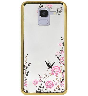 ADEL Siliconen Back Cover Softcase Hoesje voor Samsung Galaxy J6 Plus (2018) - Glimmend Glitter Vlinder Bloemen Goud