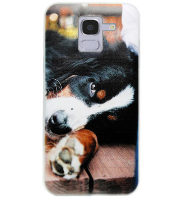 ADEL Siliconen Back Cover Softcase Hoesje voor Samsung Galaxy J6 Plus (2018) - Berner Sennenhond