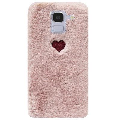 ADEL Siliconen Back Cover Softcase Hoesje voor Samsung Galaxy J6 Plus (2018) - Hartjes Roze