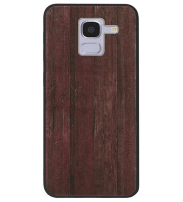 ADEL Siliconen Back Cover Softcase Hoesje voor Samsung Galaxy J6 Plus (2018) - Hout Design Bruin