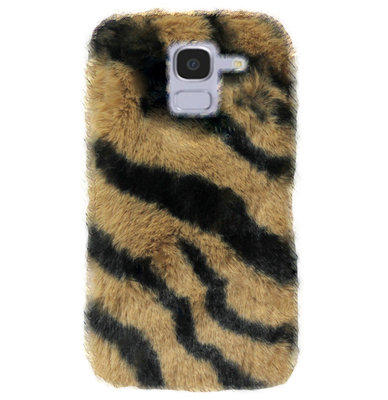 ADEL Siliconen Back Cover Softcase Hoesje voor Samsung Galaxy J6 Plus (2018) - Luipaard Fluffy Bruin