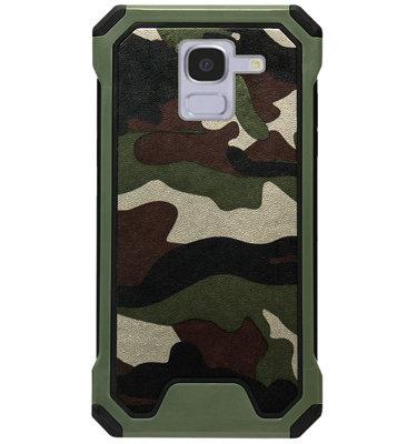 ADEL Kunststof Bumper Case Hoesje voor Samsung Galaxy J6 Plus (2018) - Camouflage Groen