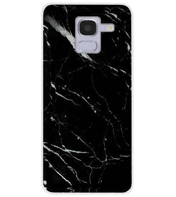 ADEL Siliconen Back Cover Softcase Hoesje voor Samsung Galaxy J6 Plus (2018) - Marmer Zwart