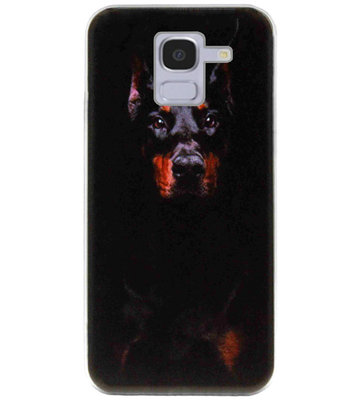 ADEL Siliconen Back Cover Softcase Hoesje voor Samsung Galaxy J6 Plus (2018) - Dobermann Pinscher Hond