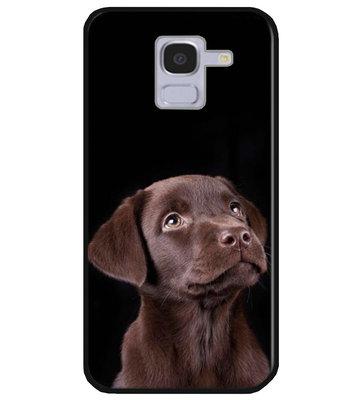 ADEL Siliconen Back Cover Softcase Hoesje voor Samsung Galaxy J6 Plus (2018) - Labrador Retriever Hond Bruin