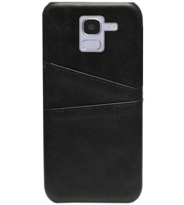 ADEL Kunstleren Back Cover Pasjes Hoesje voor Samsung Galaxy J6 Plus (2018) - Zwart