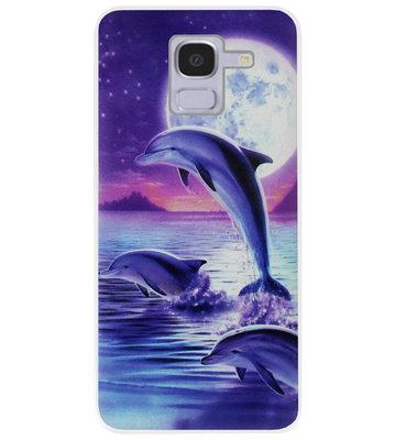 ADEL Kunststof Back Cover Hardcase Hoesje voor Samsung Galaxy J6 Plus (2018) - Dolfijn Blauw