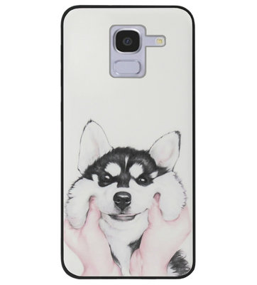ADEL Siliconen Back Cover Softcase Hoesje voor Samsung Galaxy J6 Plus (2018) - Husky Hond