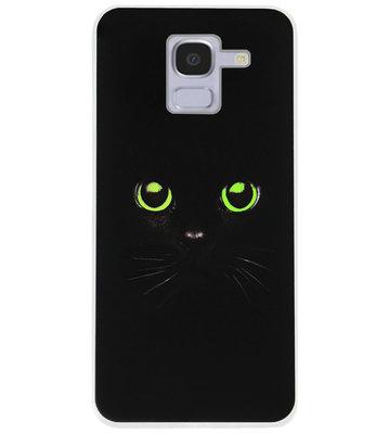 ADEL Siliconen Back Cover Softcase Hoesje voor Samsung Galaxy J6 Plus (2018) - Katten Zwart Groene Ogen