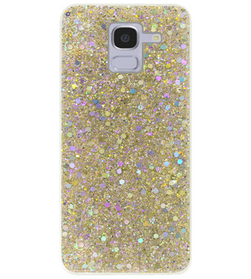 ADEL Premium Siliconen Back Cover Softcase Hoesje voor Samsung Galaxy J6 Plus (2018) - Bling Bling Glitter Goud