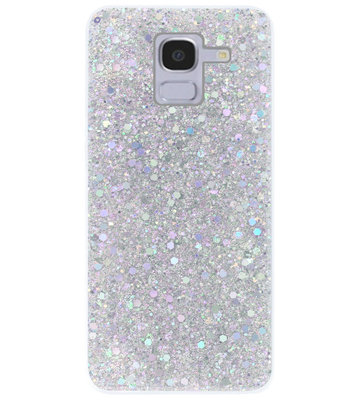 ADEL Premium Siliconen Back Cover Softcase Hoesje voor Samsung Galaxy J6 Plus (2018) - Bling Bling Glitter Zilver