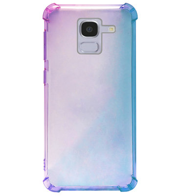 ADEL Siliconen Back Cover Softcase Hoesje voor Samsung Galaxy J6 Plus (2018) - Kleurovergang Blauw Paars