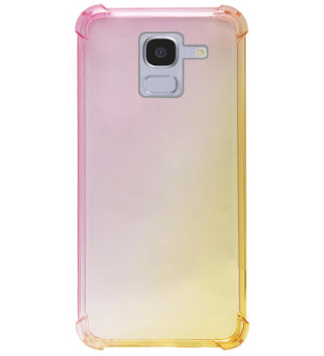 ADEL Siliconen Back Cover Softcase Hoesje voor Samsung Galaxy J6 Plus (2018) - Kleurovergang Roze Geel