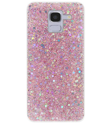 ADEL Premium Siliconen Back Cover Softcase Hoesje voor Samsung Galaxy J6 Plus (2018) - Bling Bling Roze