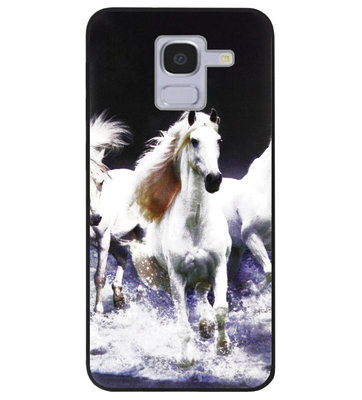ADEL Siliconen Back Cover Softcase Hoesje voor Samsung Galaxy J6 Plus (2018) - Paarden Wit