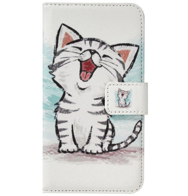 ADEL Kunstleren Book Case Pasjes Portemonnee Hoesje voor Samsung Galaxy J6 Plus (2018) - Katten