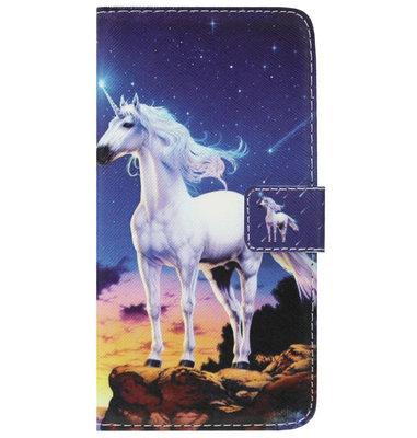 ADEL Kunstleren Book Case Pasjes Portemonnee Hoesje voor Samsung Galaxy J6 Plus (2018) - Paarden Eenhoorn Wit