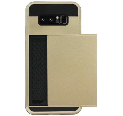ADEL Kunststof Back Cover Hardcase Hoesje voor Samsung Galaxy Note 8 - Pasjeshouder Goud