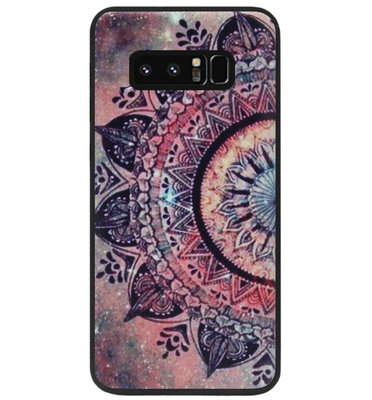 ADEL Siliconen Back Cover Softcase Hoesje voor Samsung Galaxy Note 8 - Mandala Bloemen Rood