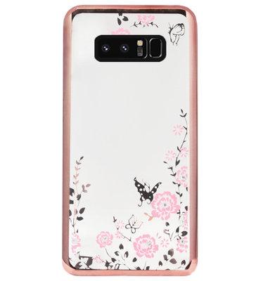 ADEL Siliconen Back Cover Softcase Hoesje voor Samsung Galaxy Note 8 - Glimmend Glitter Vlinder Bloemen Roze