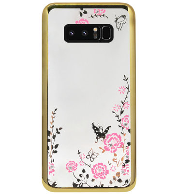 ADEL Siliconen Back Cover Softcase Hoesje voor Samsung Galaxy Note 8 - Glimmend Glitter Vlinder Bloemen Goud