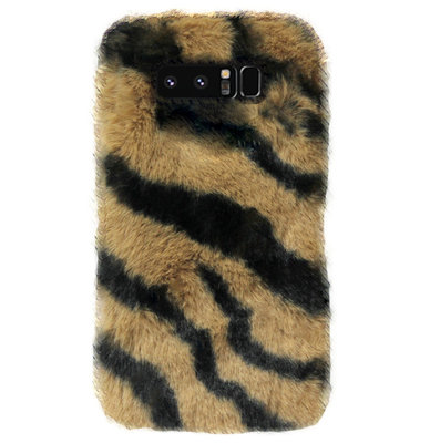 ADEL Siliconen Back Cover Softcase Hoesje voor Samsung Galaxy Note 8 - Luipaard Fluffy Bruin
