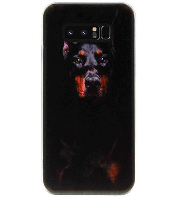 ADEL Siliconen Back Cover Softcase Hoesje voor Samsung Galaxy Note 8 - Dobermann Pinscher Hond