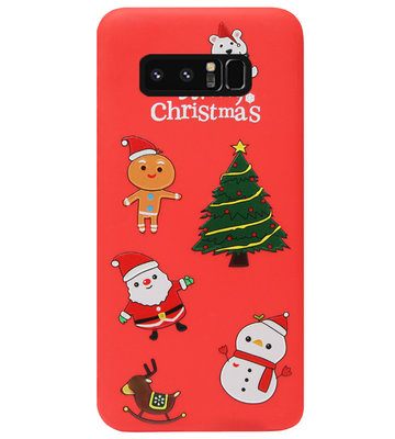 ADEL Siliconen Back Cover Softcase Hoesje voor Samsung Galaxy Note 8 - Kerstmis Rood
