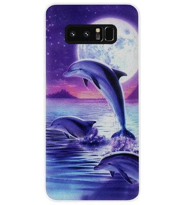 ADEL Kunststof Back Cover Hardcase Hoesje voor Samsung Galaxy Note 8 - Dolfijn Blauw