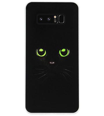 ADEL Siliconen Back Cover Softcase Hoesje voor Samsung Galaxy Note 8 - Katten Zwart Groene Ogen