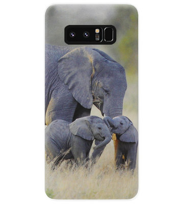 ADEL Siliconen Back Cover Softcase Hoesje voor Samsung Galaxy Note 8 - Olifant Familie
